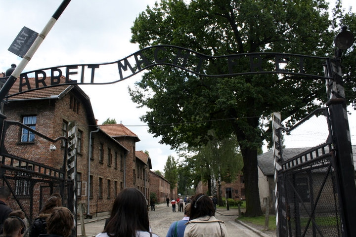 'Arbeit macht frei' - work sets you free. This sign is a replica as thieves took the original.